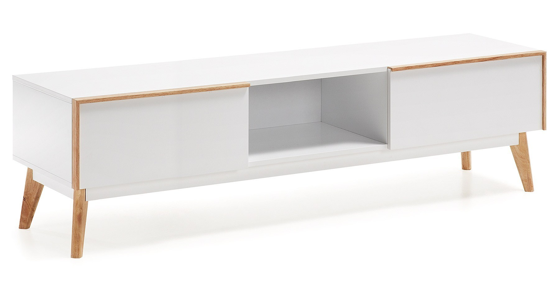 TIMMY tv Cabinet lacquered Matt White with 150 cm wooden profiles ...