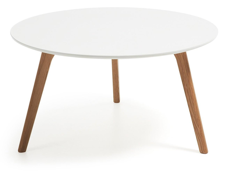 Desio diam gambe legno naturale piano laccato bianco tavolino