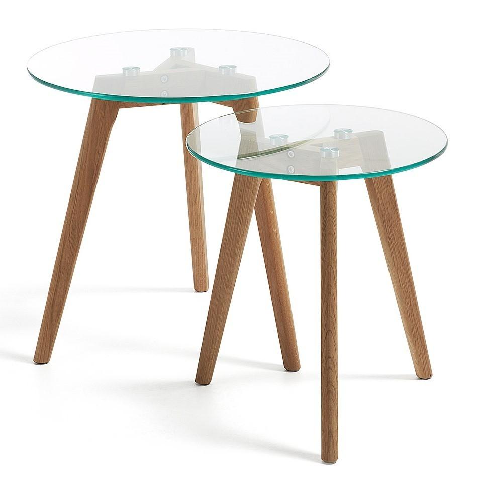 Piedi Per Tavolini Da Salotto.Elide Set Tavolini Da Salotto Rotondi Gambe Legno Naturale