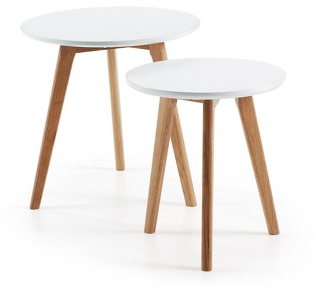 Flint Set Tavolini Da Salotto Rotondi Gambe Legno Naturale Piano Laccato Bianco