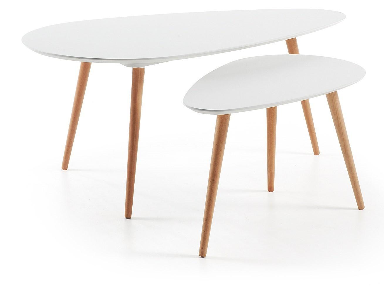 Geco set tavolini da salotto ovali gambe legno naturale piano