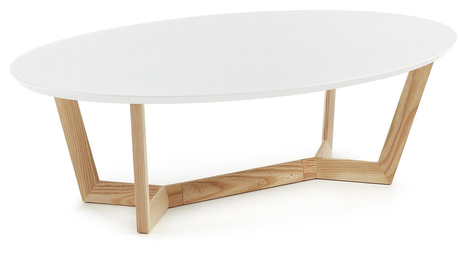 ABOCA tavolino ovale piano laccato bianco gambe in legno - Livitalia ...