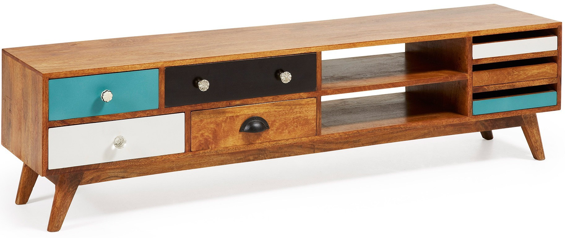 ARON 160x35 expansion wedge Wood TV stand with feet - Livitalia Design