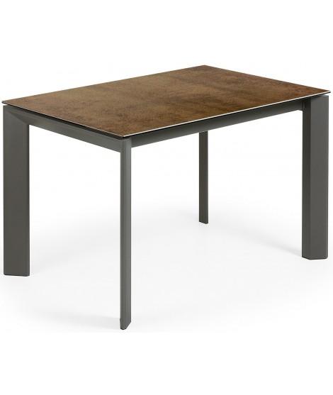 Brad 120 140 O 160 Allungabile Tavolo Con Piano In Gres Porcellanato Marrone O Marrone Scuro E Gambe In Metallo Antracite