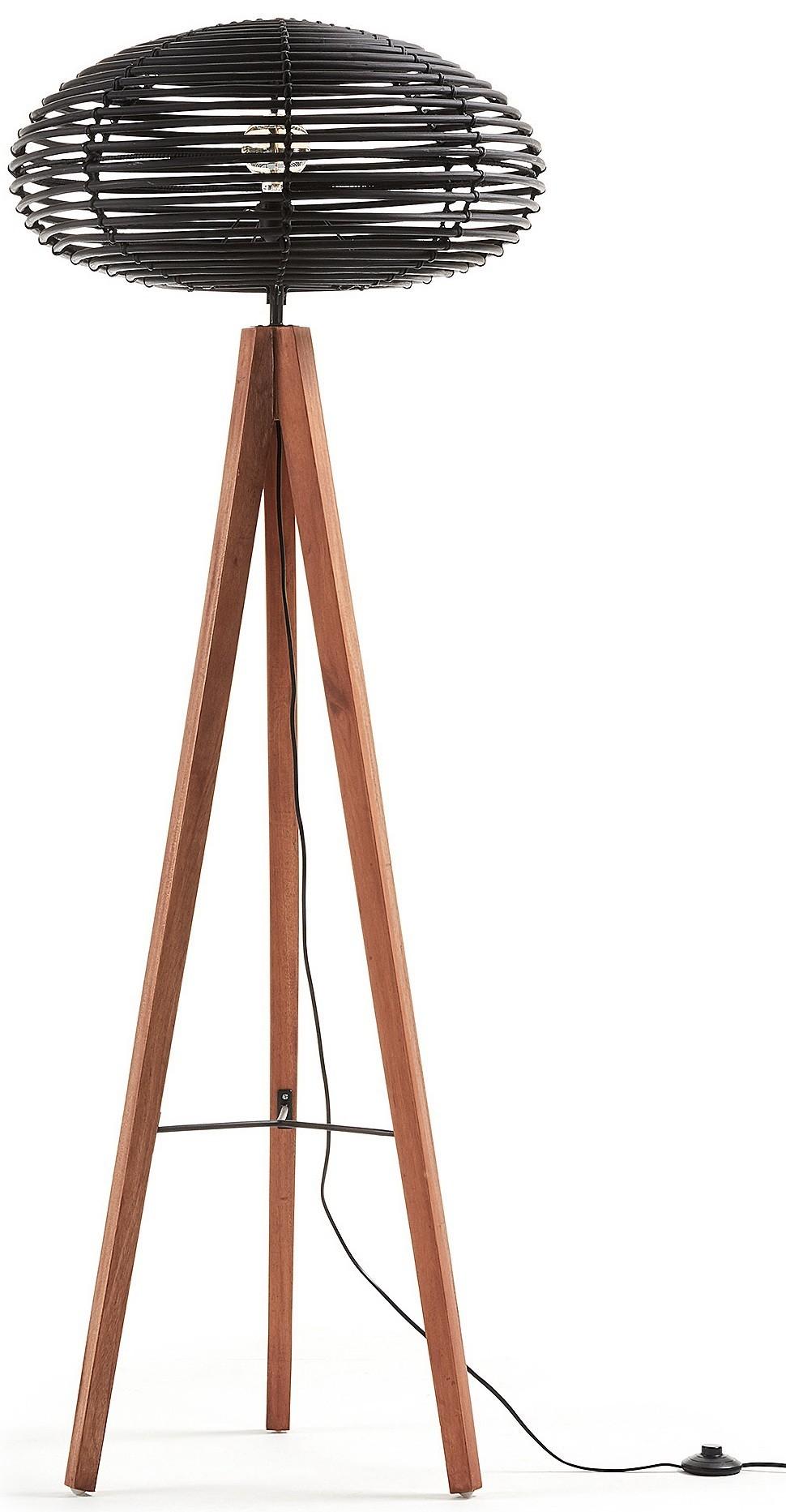 ZURI schwarz Rattan und Holz Stehlampe - Livitalia Design