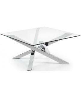 ADO tavolino in metallo cromato piano cristallo trasparente