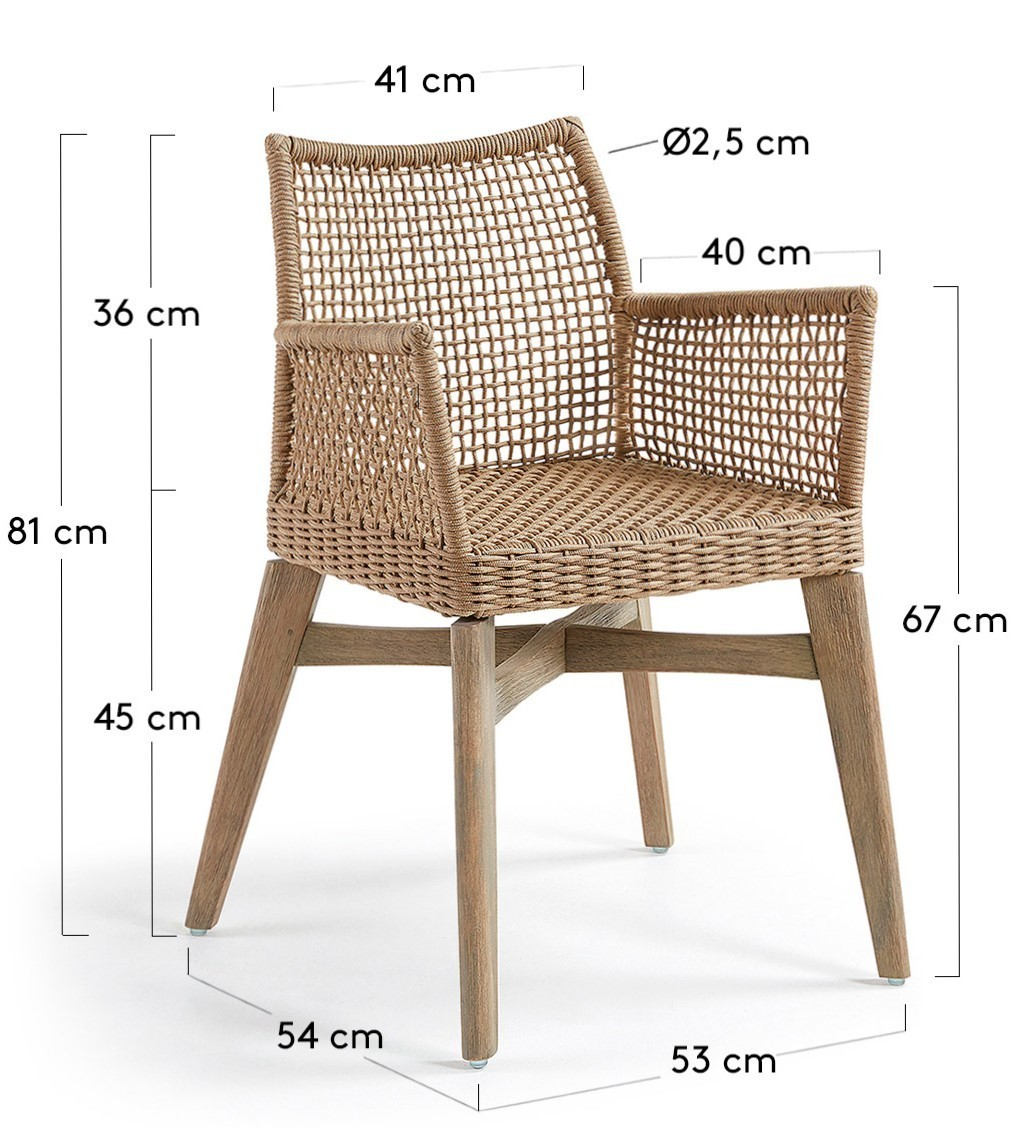 Dattani Sand Or Dark Grey In Rope And Acacia Wood Outdoor Chair Armchair