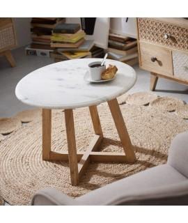 Twice Tavolino Portalampada Rotondo Con Piano In Marmo Bianco E Base In Legno Naturale