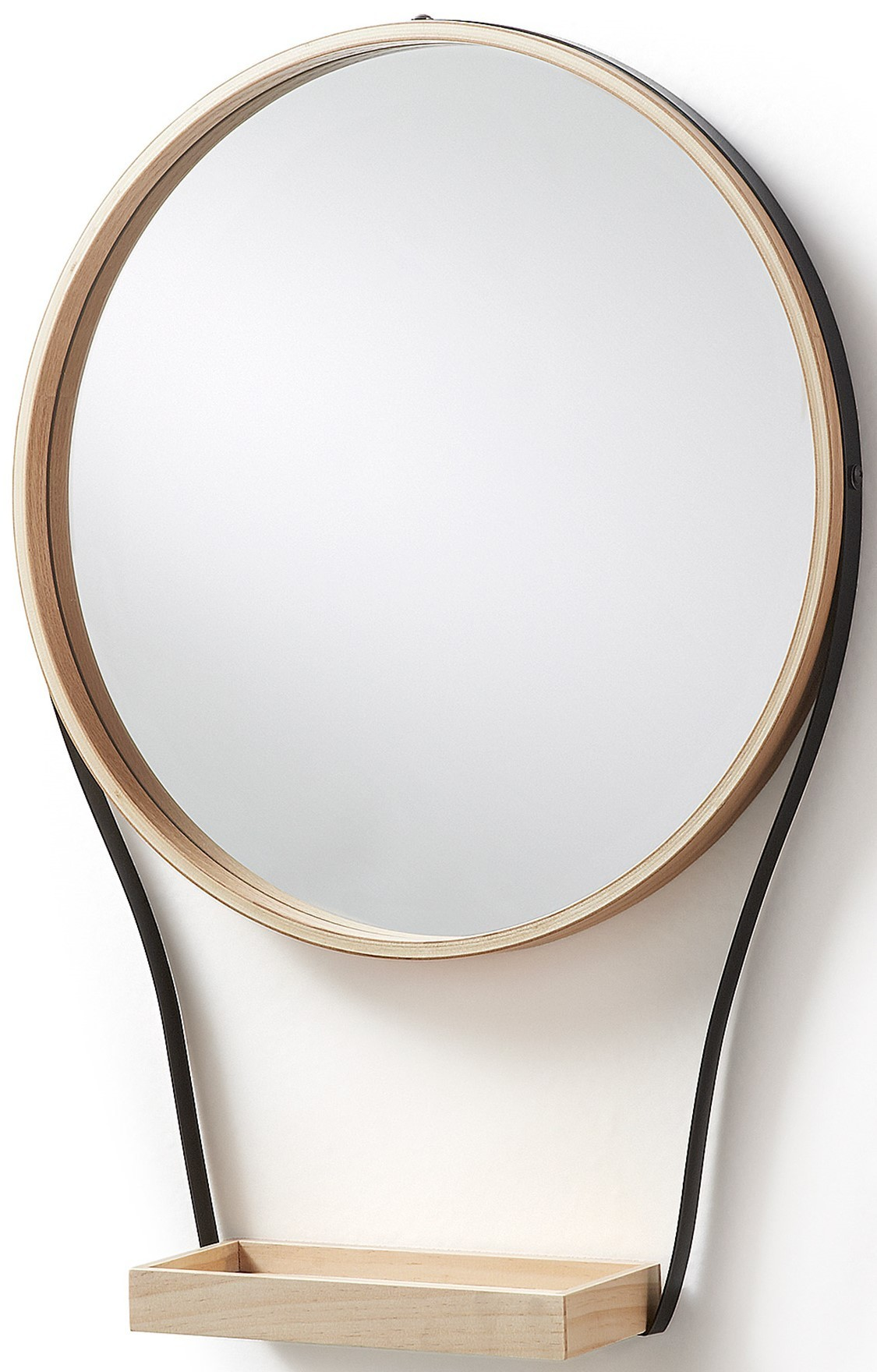 ERSO specchio rotondo con mensola in legno - Livitalia Design
