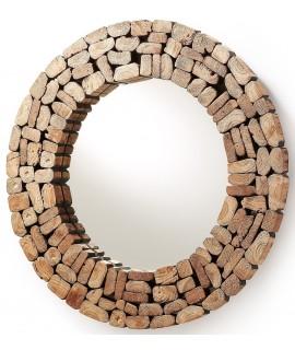 POLLON diam 80 cm specchio con cornice in legno reciclato