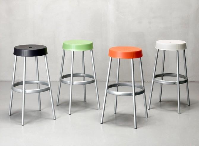 Gim fisso gambe in alluminio sedile in tecnopolimero sgabello in