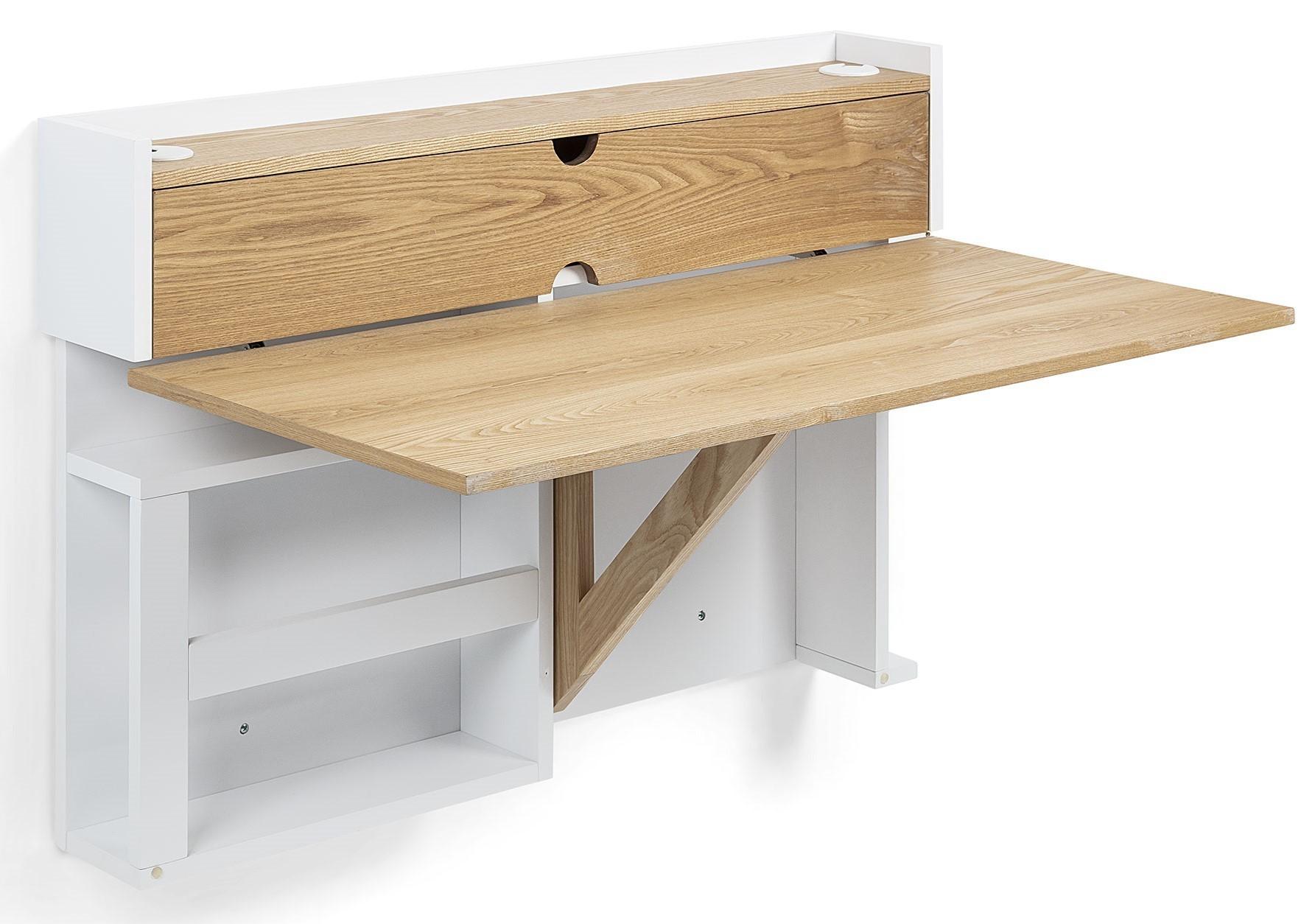 Scrivania In Legno Chiaro : Creta tavolo scrivania ribaltabile in legno di frassino e laccato