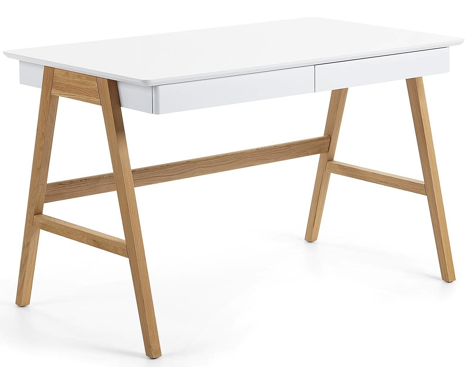 Scrivania In Legno Chiaro : Corin tavolo scrivania con cassetti in legno di rovere e laccato
