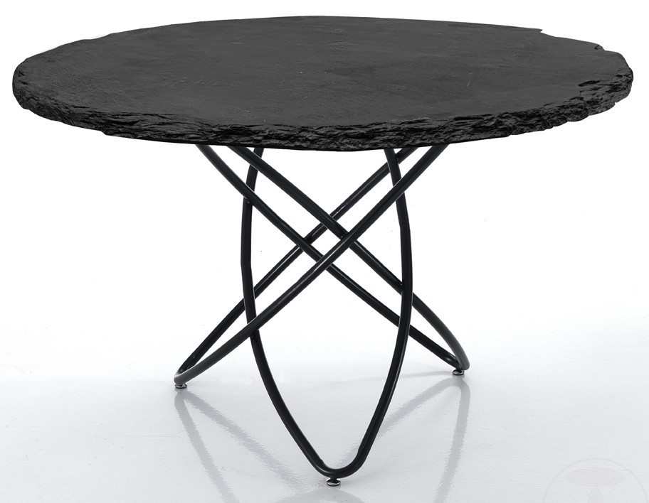 Tavoli In Pietra Per Interni.Nick Tavolo Piano In Pietra Di Ardesia E Gambe In Metallo