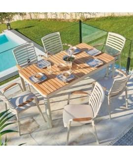 Charls Set Tavolo 160x95 E 6 Sedie In Alluminio Bianco E Piano E Finiture In Teak Per Giardino Terrazzi Residence Hotel Chalet