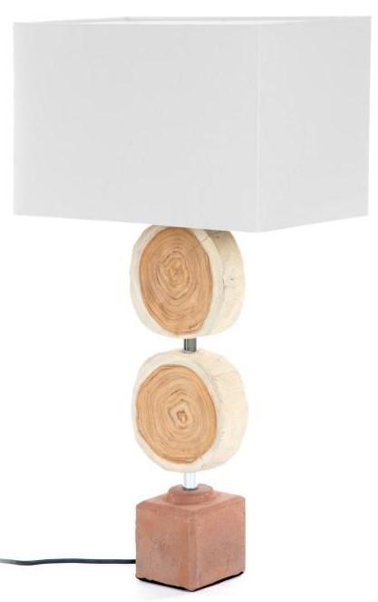 Fabula Lampada Da Tavolo In Legno Naturale E Base In Mattone