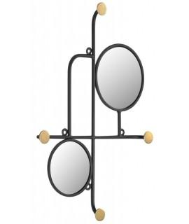 RINA specchio e appendiabiti a muro decorativo in metallo nero con pomelli oro
