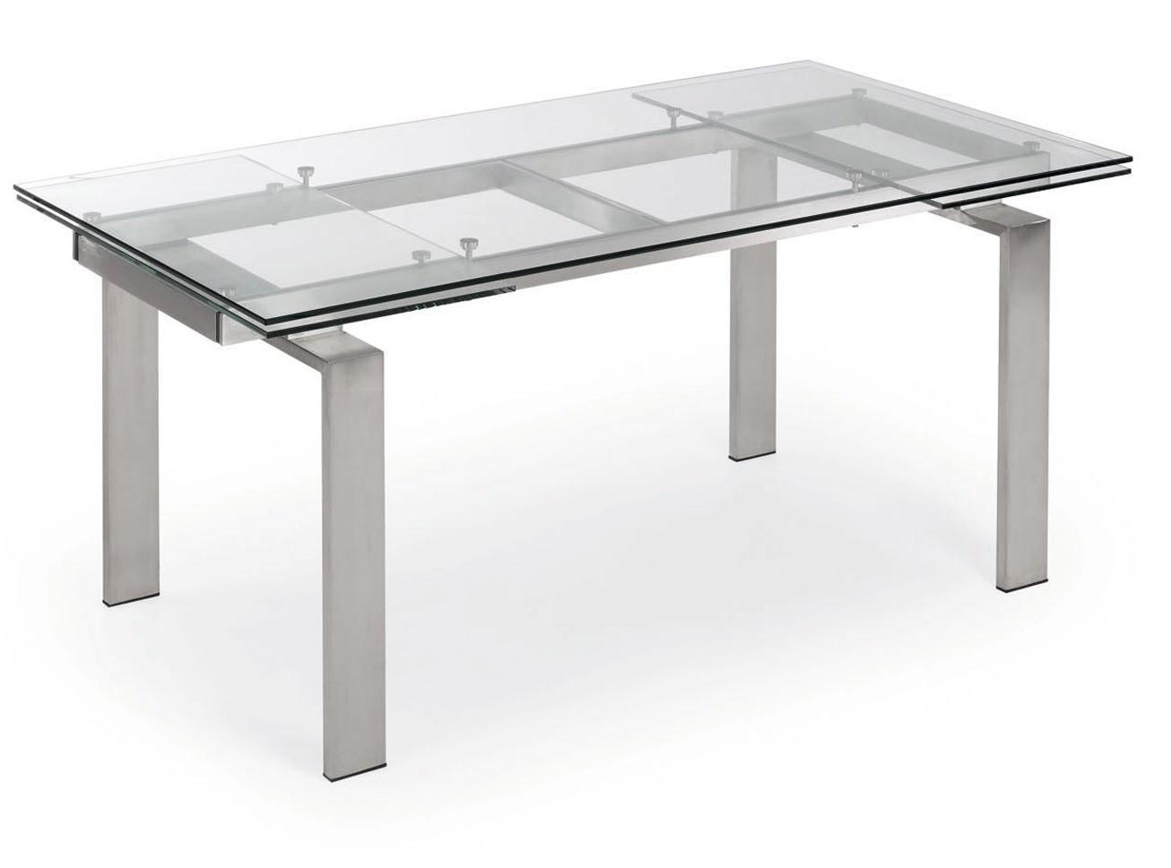 Tavolo Cristallo Temperato.Tavolo In Vetro Trasparente Allungabile A Cm 240
