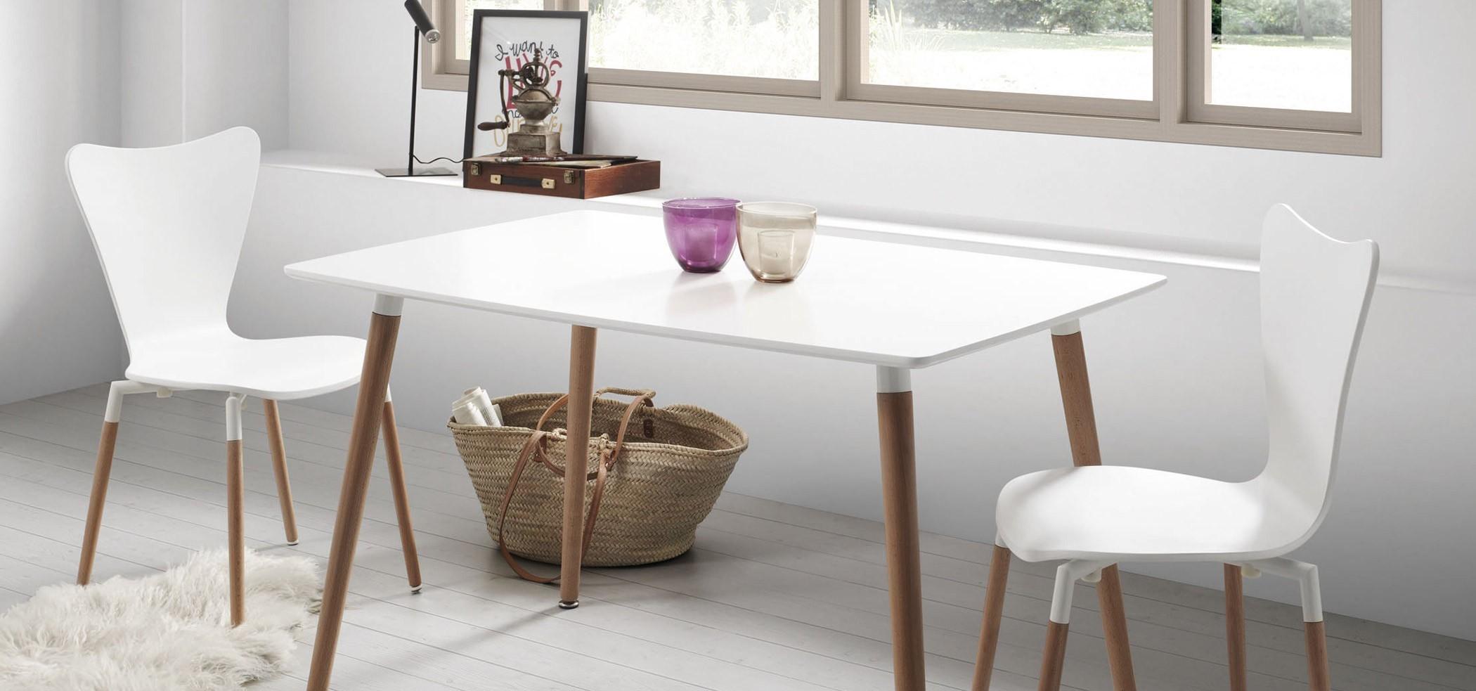 Tavolo Bianco In Legno doze r rettangolare tavolo fisso cm 120 e 140 laccato bianco
