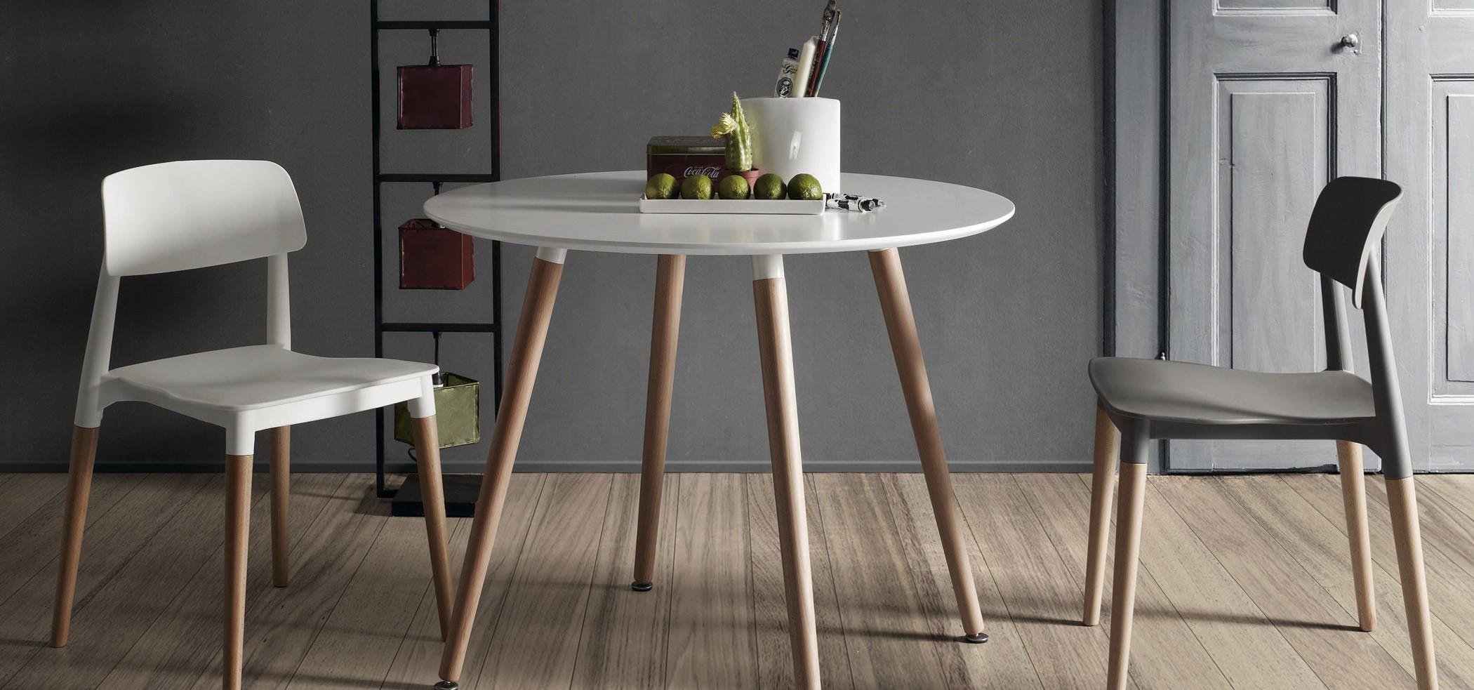 DOZE R fixée table ronde diam. 100 cm blanc laqué table en bois ...