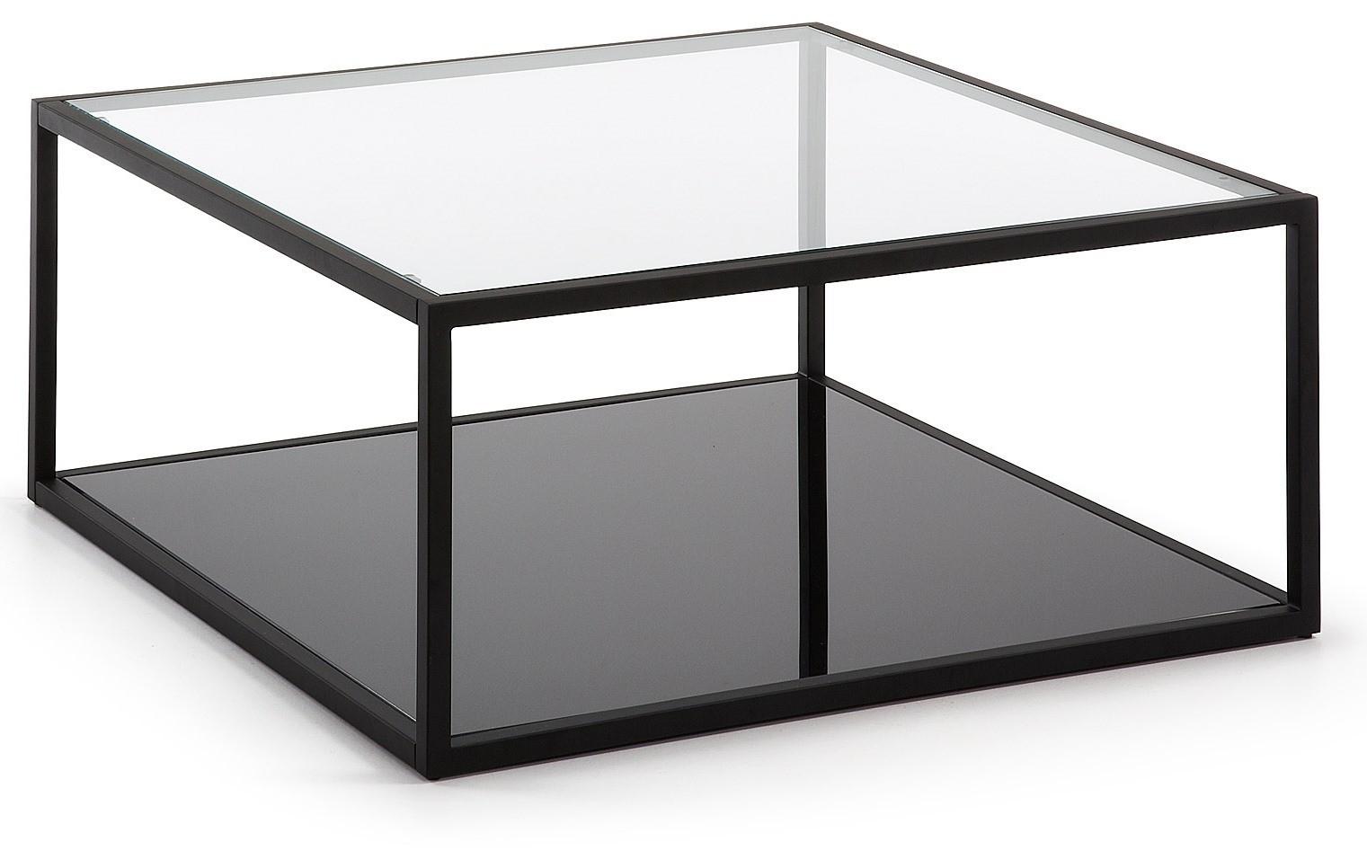 HILL tavolino quadrato 80x80 struttura metallo nero vetro ...