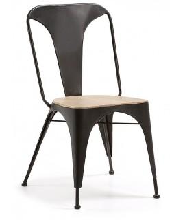 TIME peint chaise en métal avec assise en bois d'acacia.