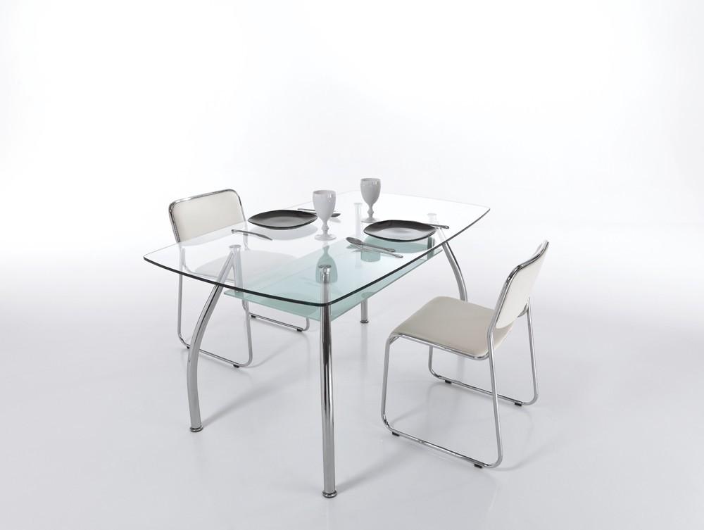 Ripiano In Vetro Per Tavolo.James 145x85 Fisso Con Ripiano Vetro E Base In Metallo Cromato