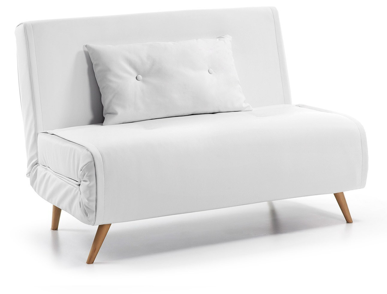 tulip convertible sofa bed from 100 cm white faux leather ... - Pelle Bianca Divano Letto Semplice