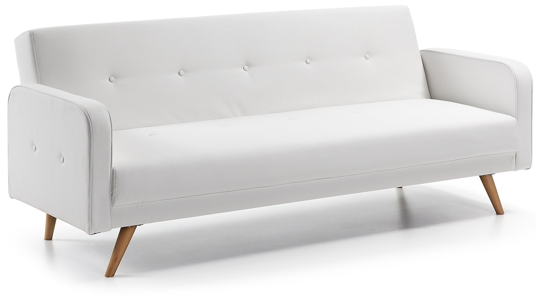 Divano Letto Ecopelle Beige.White Leather Sofa Bed 3 Seater Ready Roberto With Wooden Feet
